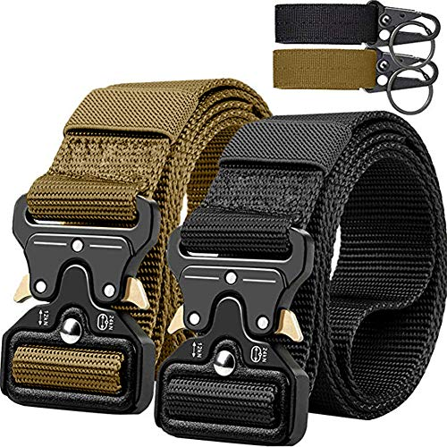 QINGYUN Tactical Belt,Military Style Webbing Riggers Web Gun Belt with Heavy-Duty Quick-Release Metal Buckle with 2 Keychains -