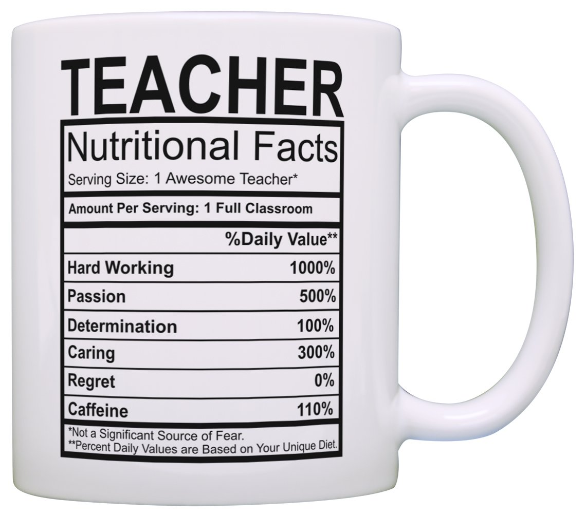 Teacher Appreciation Gifts Teacher Nutritional Facts Label 2 Pack Gift Coffee Mugs Tea Cups White by ThisWear (Image #2)