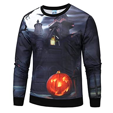 1ce851c0 Amazon.com: Yuxikong Halloween Costume,Mens Casual Scary Halloween Pumpkin  3D Print Party Long Sleeve Hoodie Tops: Clothing