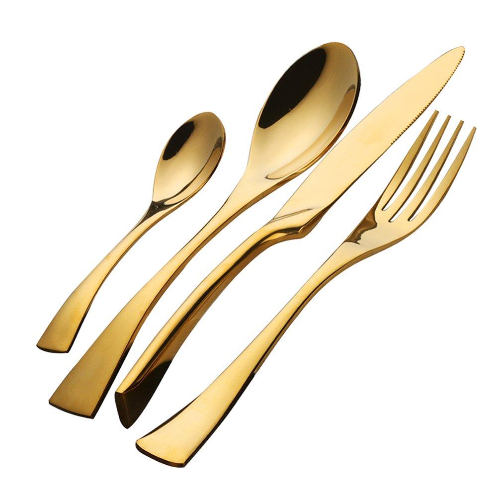Buyer Star 4PCS Gold Edelstahl Geschirr Set Teelöffel Dessert Gabel Löffel Hochzeit Abendessen Stahl Cutlery Set