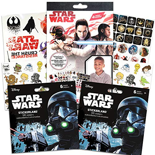 Star Wars Stickers Party Favors ~ Set of 2 Sticker Packs ~ Bundle Includes 18 Sheets over 350 Stickers plus Star Wars Tattoos -Darth Vader, Storm troopers, Chewbacca ()