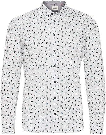 BLEND Camisa Slim Estampada Blanca: Amazon.es: Ropa y accesorios