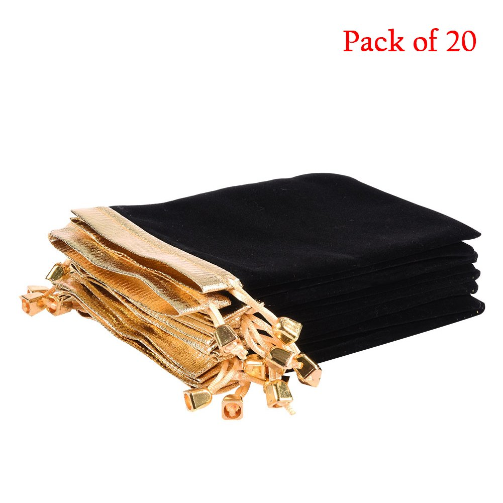SHZONS 20Pcs Soft Velvet Pouches w Drawstrings for Jewelry Candy Gift Bags, 4.7''x6.3''