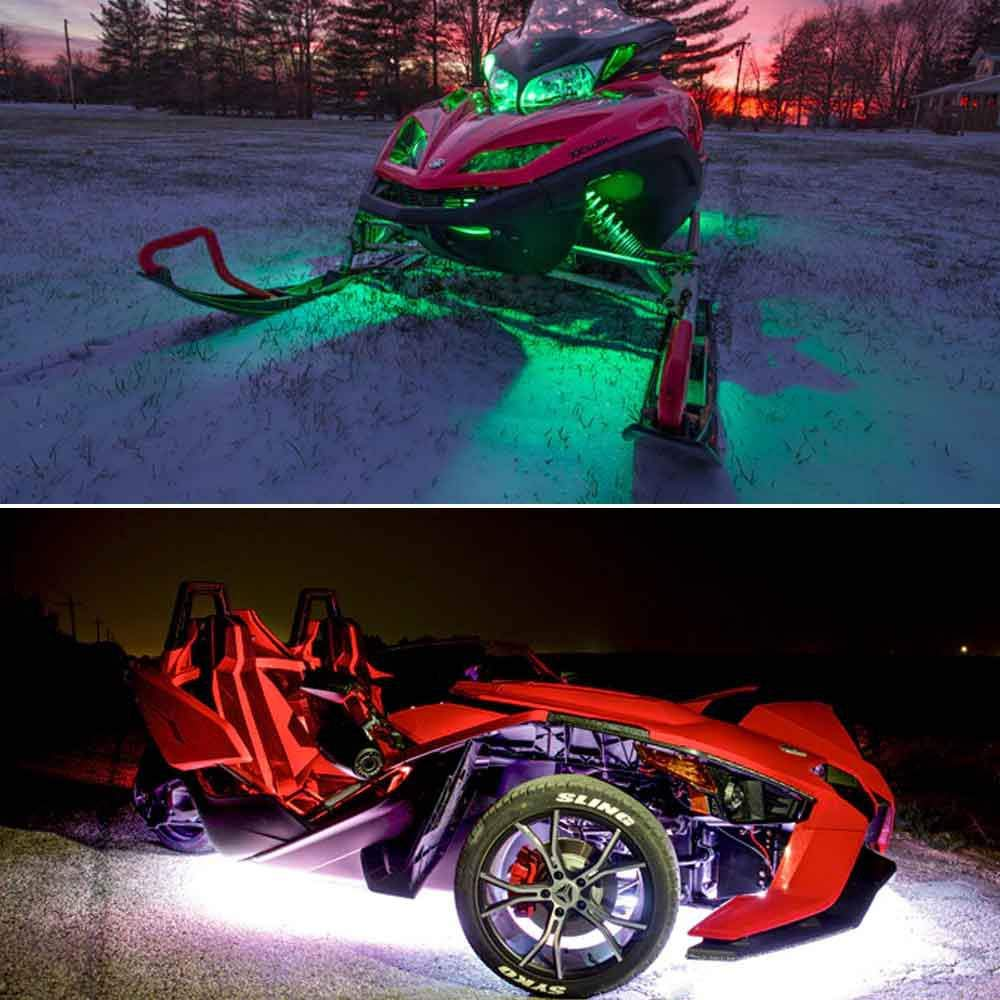 Mehrfarbige Neonatmosph/ärenlampe Mit Drahtloser Fernbedienung F/ür Harley Honda Kawasaki Suzuki Ducati Polaris KTM BMW FOONEE 6Pcs RGB LED Motorrad Strip Lights Kit