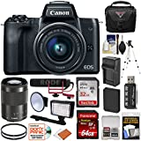 Canon EOS M50 Wi-Fi Digital ILC Camera & EF-M 15-45mm IS Video Creator Kit with 55-200mm Lens + Rode Microphone + 32GB/64GB Cards + Battery + LED + Case + Tripod Kit