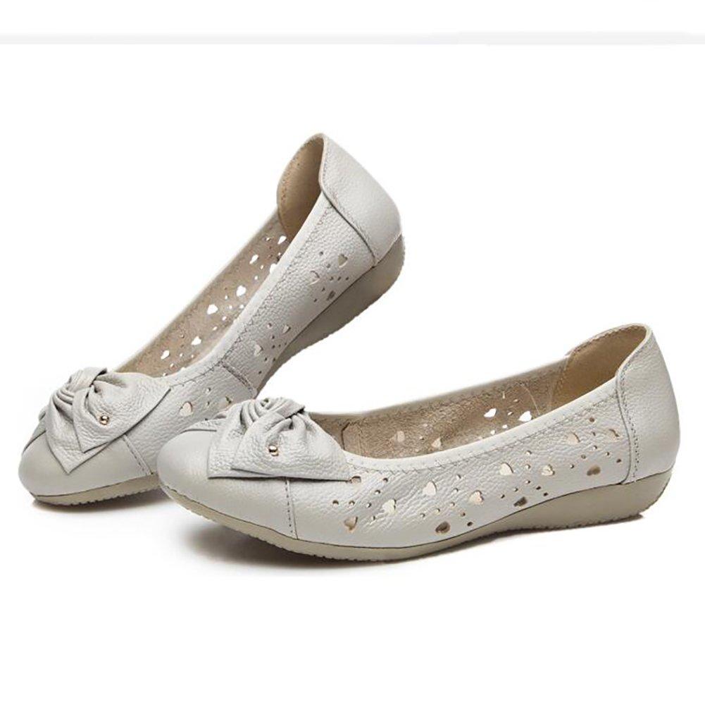 SHANGXIAN Damen Leder Schuhe Mokassins Beilauml;ufig Flache Bootsschuhe Einfach Gemuuml;tlich Atmungsaktiv Sandalen,Gray,US5.5/EU36/UK3.5/CN35  US5.5/EU36/UK3.5/CN35|Gray