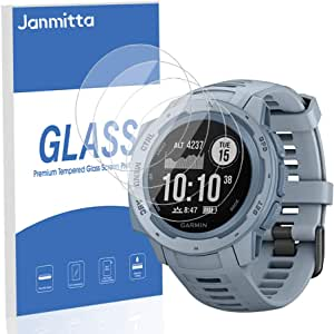 [4-Pack] Janmitta for GarminInstinctTactical Screen Protector, HD Protector [Anti-Scratch] [No-Bubble], Tempered Glass Film Glass for GarminInstinctTactical