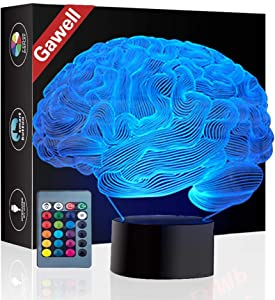 Christmas Gift Brain 3D Illusion Decoration Lamp, Gawell 7 Color Changing Touch Switch Table Desk Night Light Birthday Present with Acrylic Flat & ABS Base & USB Cable Toy for Brain Fans Lover
