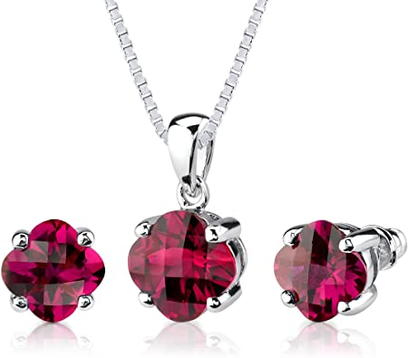 Silver ruby earrings and pendant