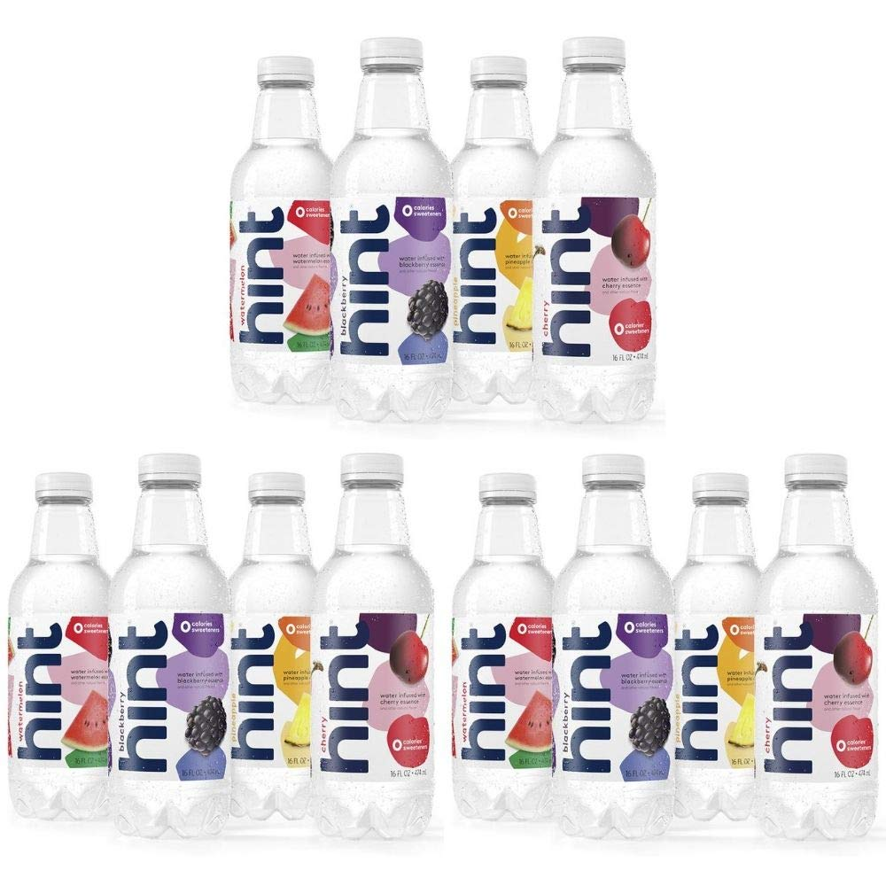 Hint Fruit Infused Water Variety Pack, (Pack of 12) 16 Ounce Bottles, 3 Bottles Each of: Cherry, Watermelon, Pineapple, andBlackBerry, Unsweet Water with Zero Diet Sweeteners (03 Pack, 16 Ounce)