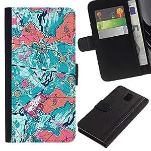 For Samsung Galaxy Note 3 III Case , Abstract Teal Orange Map Art - la tarjeta de Crédito Slots PU Funda de cuero Monedero caso cubierta de piel