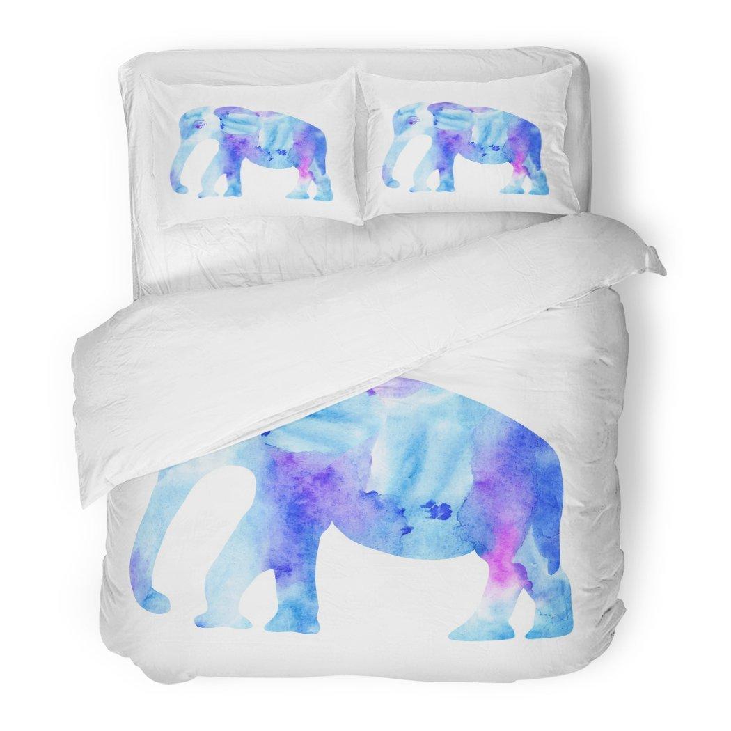 SanChic Duvet Cover Set Painting Cute Blue Elephant Watercolor Bright Dishes Purposes Thai Thailand Decorative Bedding Set 2 Pillow Shams King Size