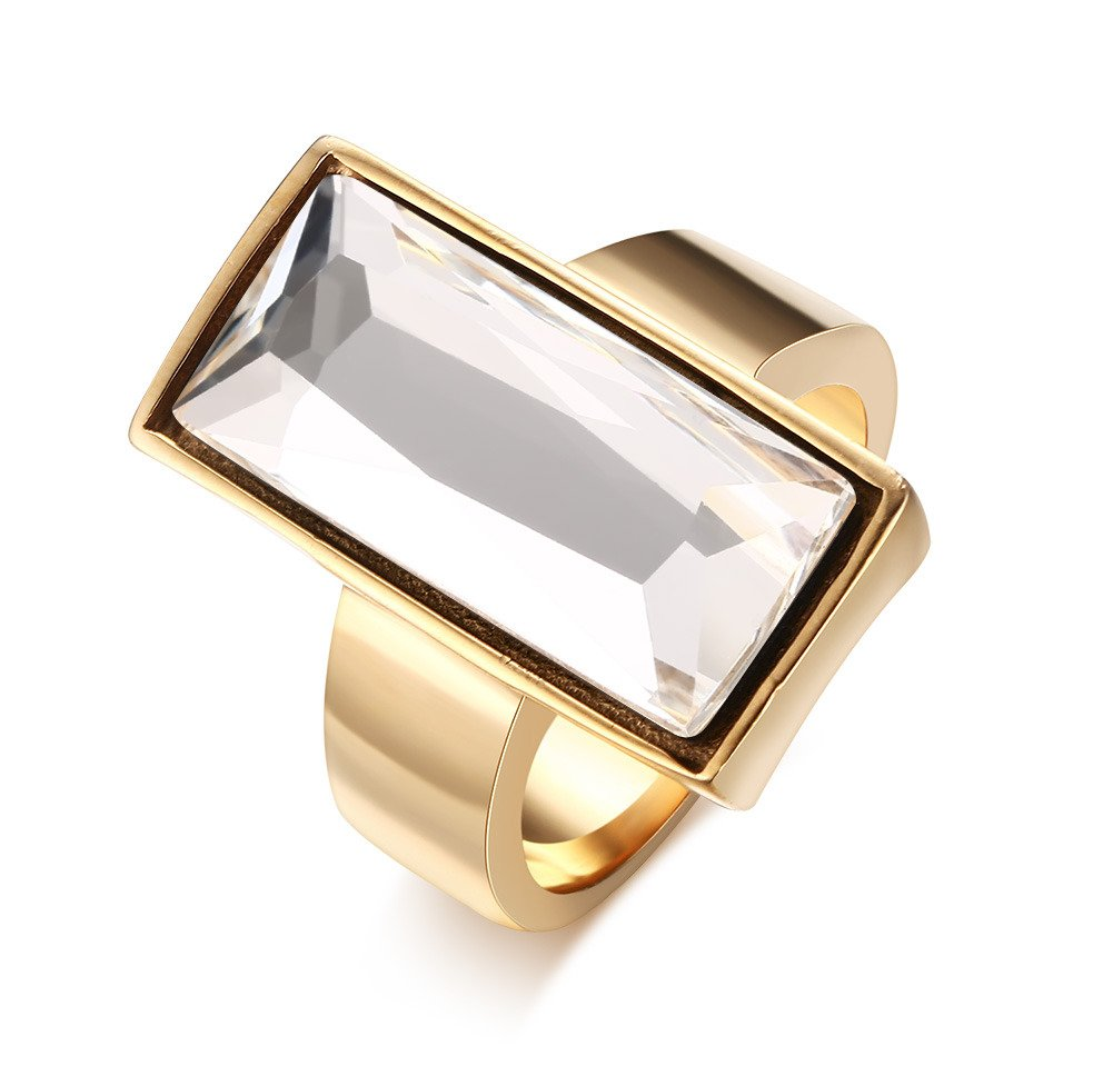 Stainless Steel Gold Plated Rectangular White Glass Crystal Ring for Women,Best Friend Gift,Size 7