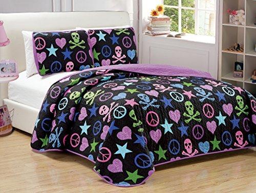 Elegant Home Multicolor Black Green Pink Purple Blue Peace Sign Skull Stars Hearts Zebra Design 3 Piece Coverlet Bedspread Quilt for Kids Teens / Girls # FA01 (Pink Peace Signs Hearts)
