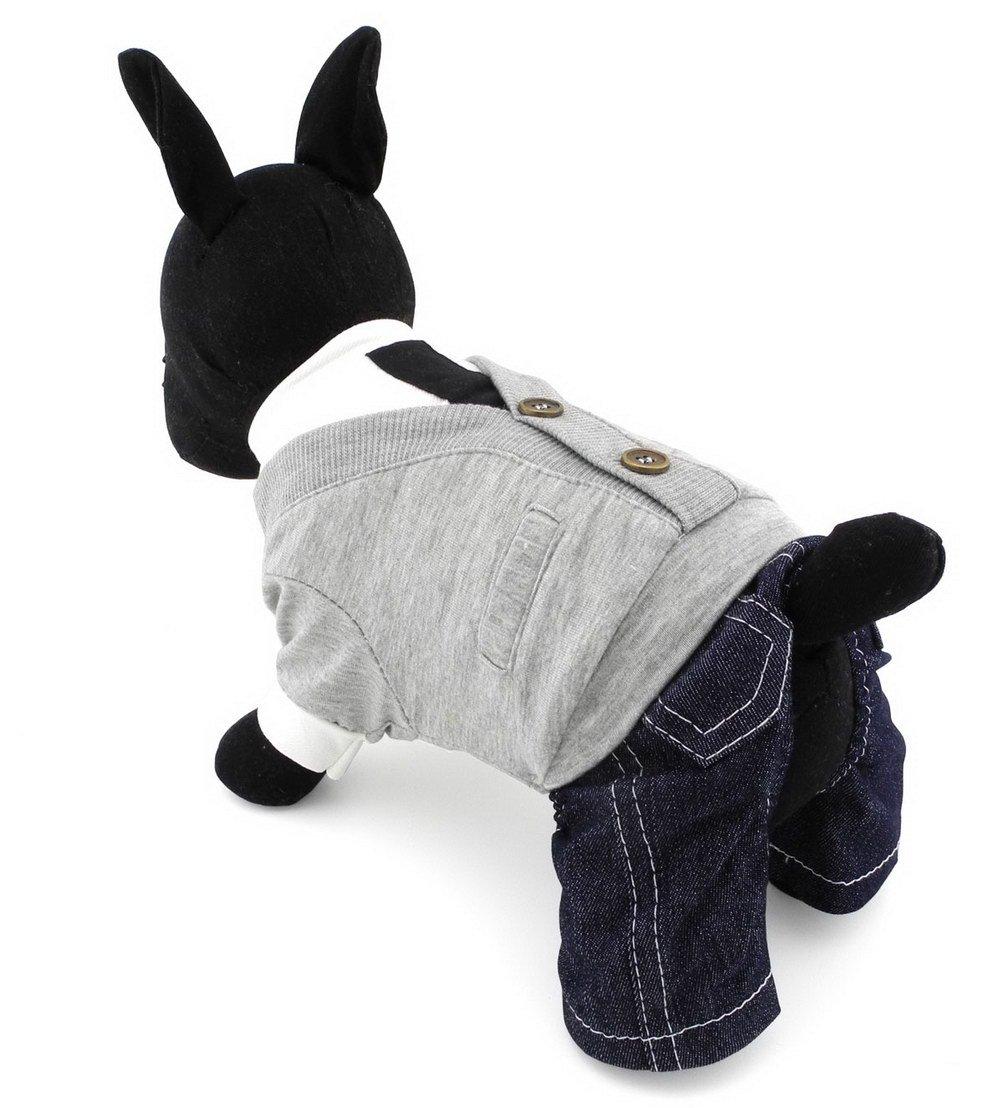 Zunea Petit Chien JumpSuit Denim Pantalon College Style animal Pyjama combinaison Pull pour homme Doggie Chihuahua Vêtements Apparel