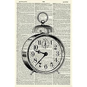 Vintage Clock Art Print – Vintage Art Print – Vintage Dictionary Art Print – Black & White – Book Art Print – WALL ART – Illustration – Picture – Wall Hanging – Home Décor – ARTWORK 731D