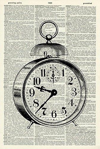 Vintage Clock Art Print - Vintage Art Print - Vintage Dictionary Art Print - Black & White - Book Art Print - WALL ART - Illustration - Picture - Wall Hanging - Home Décor - ARTWORK 731D 3