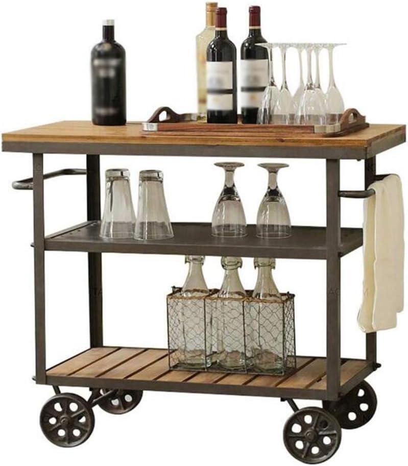 Carros de Servicio de Bar, Carro de Comedor Multifuncional Vintage de Hierro Forjado, Carro de Herramientas de Almacenamiento de Cocina doméstica, 3 Tamaño Forjado: 70 * 35 * 75 cm