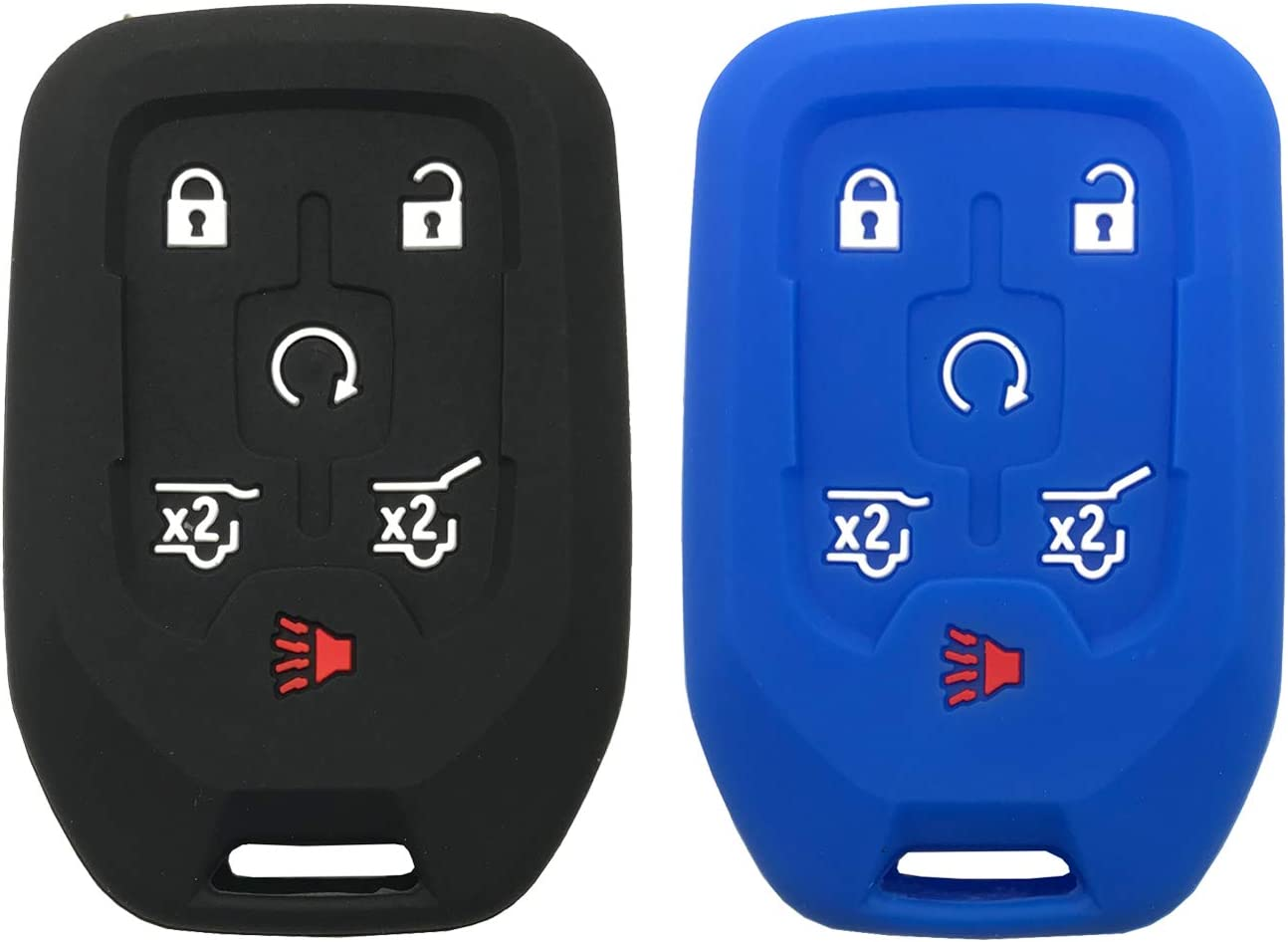 New Silicone Rubber Key Fob Case Key Cover fit for fits 2014 2015 2016 2017 Chevy Tahoe Suburban//GMC Yukon Black+Blue