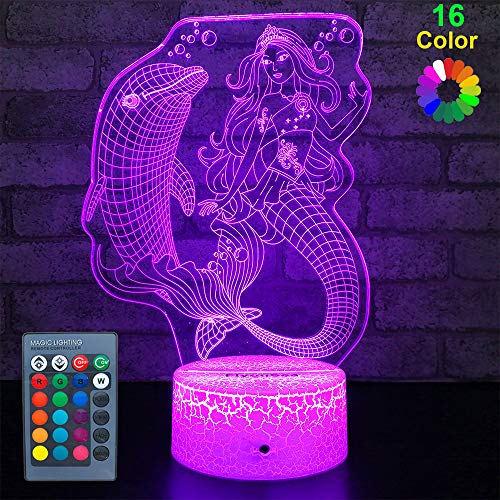 (FlyonSea Girls Mermaid Gifts,Mermaid Decorations Mermaid Party Supplies 16 Color Changing Nightlight with Touch and Remote Control, Mermaid Toys Light Birthday for Kids Girls Baby)