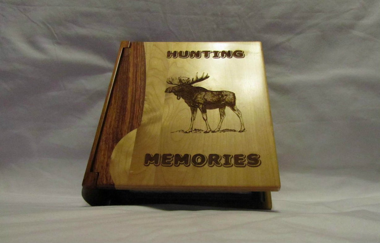 Engraved Wood Personalized Photo Album ''Hunting Memories'' - Large by Whitetail Woodcrafters (Image #2)