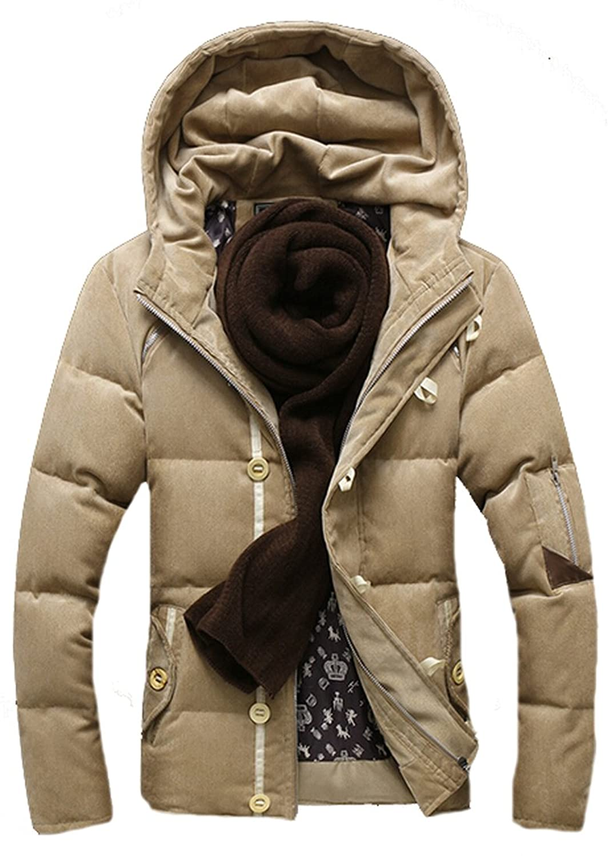 EKU Men Casual Winter Warm Zipper Button Down Hoodie Jacket Coat l Khaki