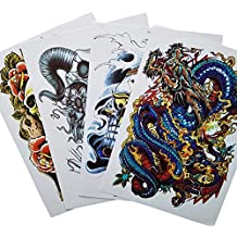 Kotbs 4 Sheets Mix Large Temporary Tattoos Paper Big Size Colorful Skull Designs Body Art Fake Tattoo Sticker Make up for Men Women Waterproof
