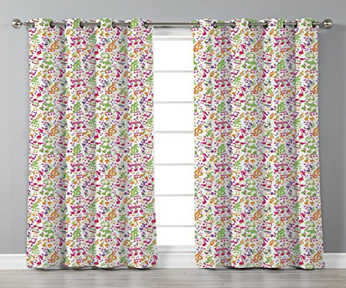 iPrint Satin Grommet Window Curtains,Music,Inspirational Sound Vibes Theme Sonic Rhythm Melody Cheerful Musical Notes Print,Multicolor,2 Panel Set Window Drapes,for Living Room Bedroom Kitchen Cafe