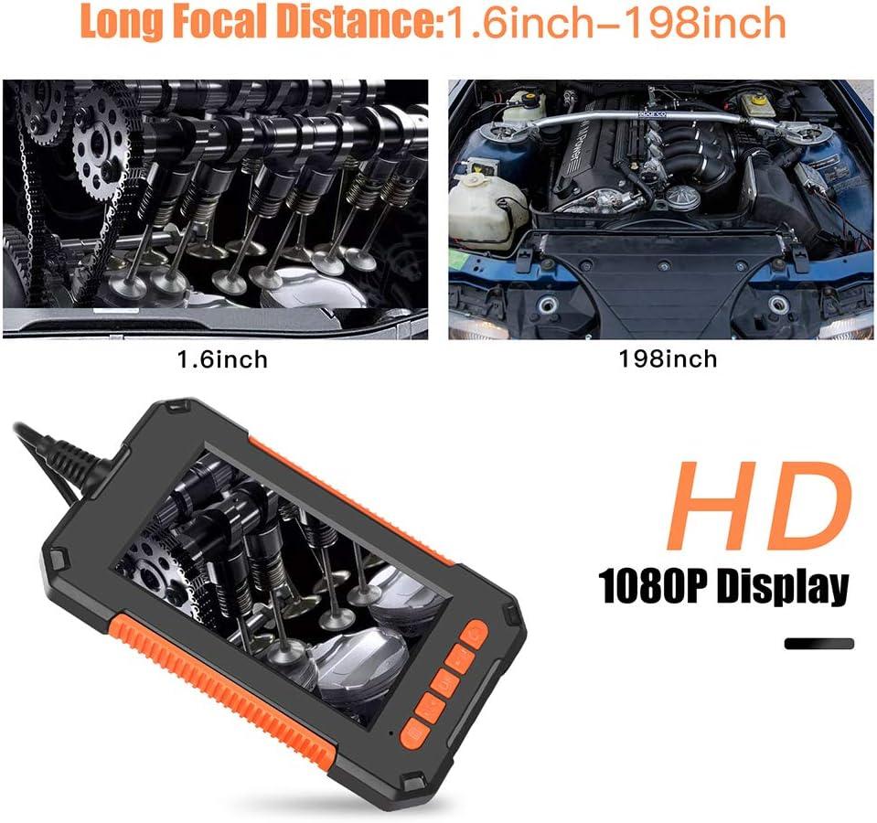 Janhiny P40 Handheld Industrial Endoscope IP67 Waterproof 8mm Lens 4.3-Inch LCD Display Screen 19201080p HD Camera 2600mAh Battery Capacity Video Inspection Drain Plumber Snake Camera Borescope
