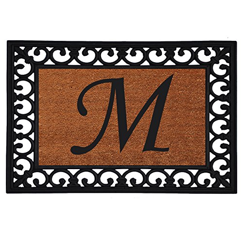 "Home & More 180041925M Inserted Doormat, 19"" X 25"" x 0.60"", Monogrammed Letter M, Natural/Black"