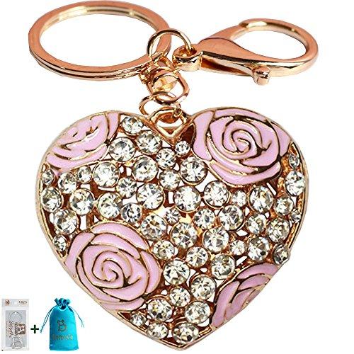 Bolbove Rose Flower Love Heart Keychain Sparkling Keyring Crystal Rhinestones Purse Pendant Handbag Charm (Pink) Diamond Purse Pendant