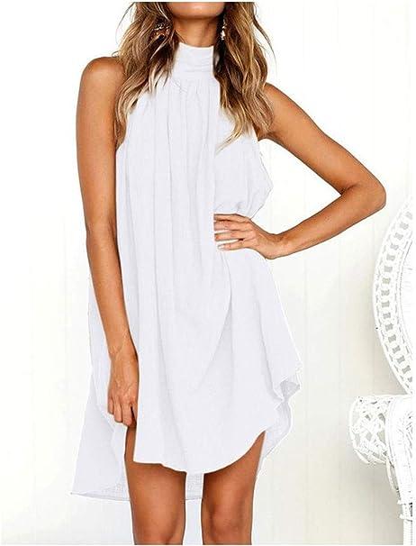 Vestido YONGYONGCHONG algodón y Lino de Verano para Mujer Botón de Espalda Abierta Falda de Color sólido Falda de Costura Irregular (Color : D): Amazon.es: Hogar