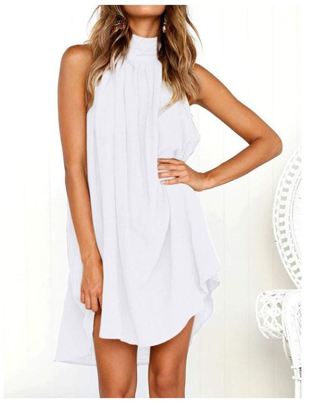 C LLJ Summer Cotton and Linen Women's Vest Dress Round Neck Folds Sleeveless Backless Skirt Irregular Beach Skirt (color   D)