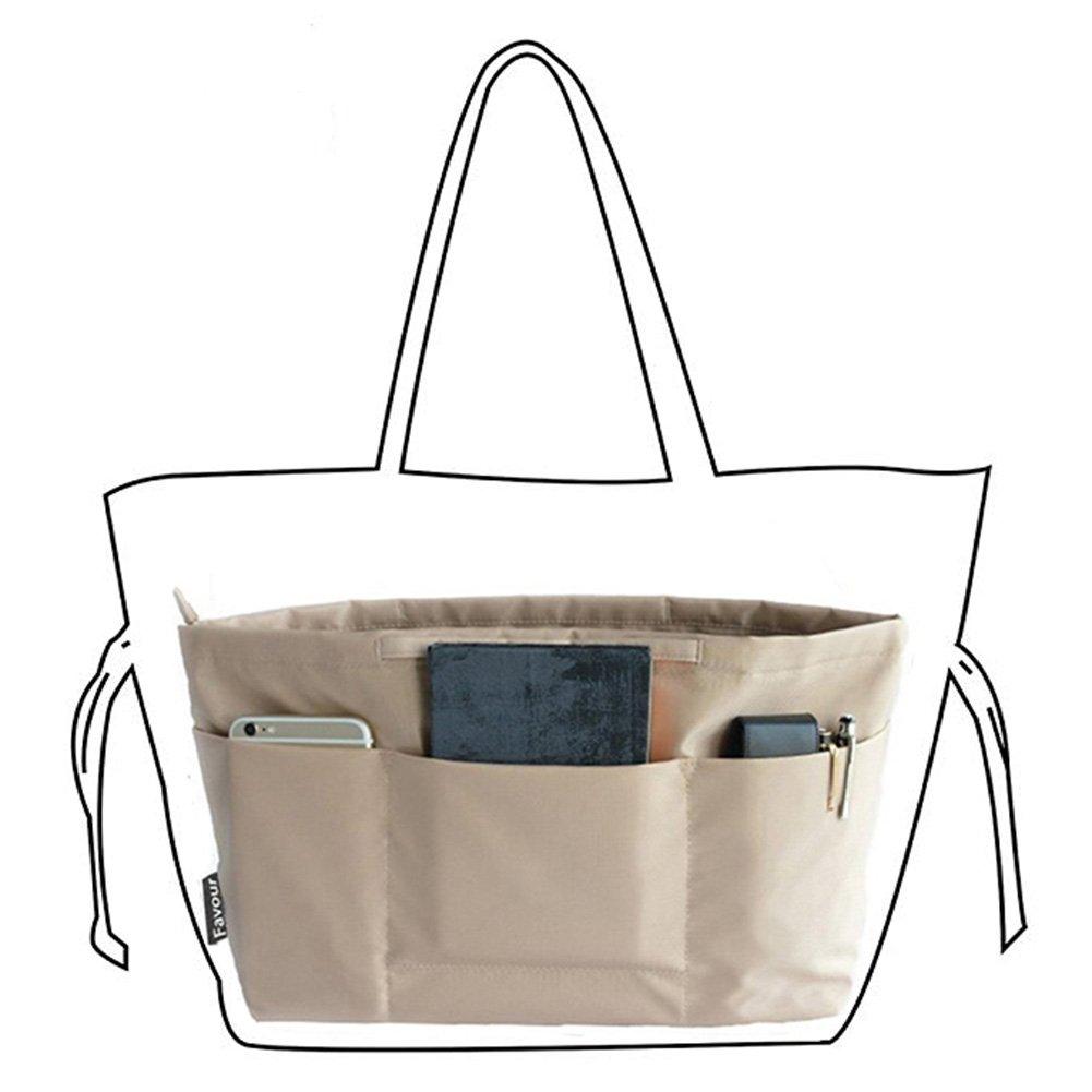 Insert Bag Organizer, Bag in Bag for Handbag Purse Organizer (Medium, Beige)
