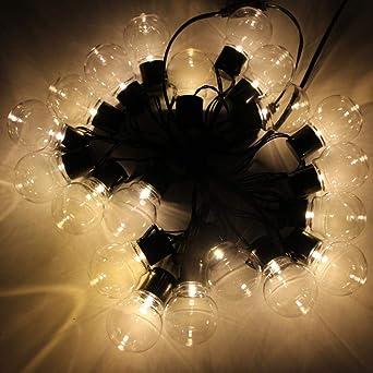 10M 38 Led Cadena De Luz Luces De Hadas Al Aire Libre Guirnalda G50 Bombillas Jardín Patio Boda Decoración Navideña Cadena De Luz Impermeable: Amazon.es: Iluminación