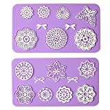 (US) Multi Circle Flowers Lace Mat Wedding Cake Decoration Tool Flower Embossing Lace Fondant Moulds Cupcake Toppers Silicone Bake Molds for Cake Decorating, Arts, Crafts Set of 2 - By Sago Brothers