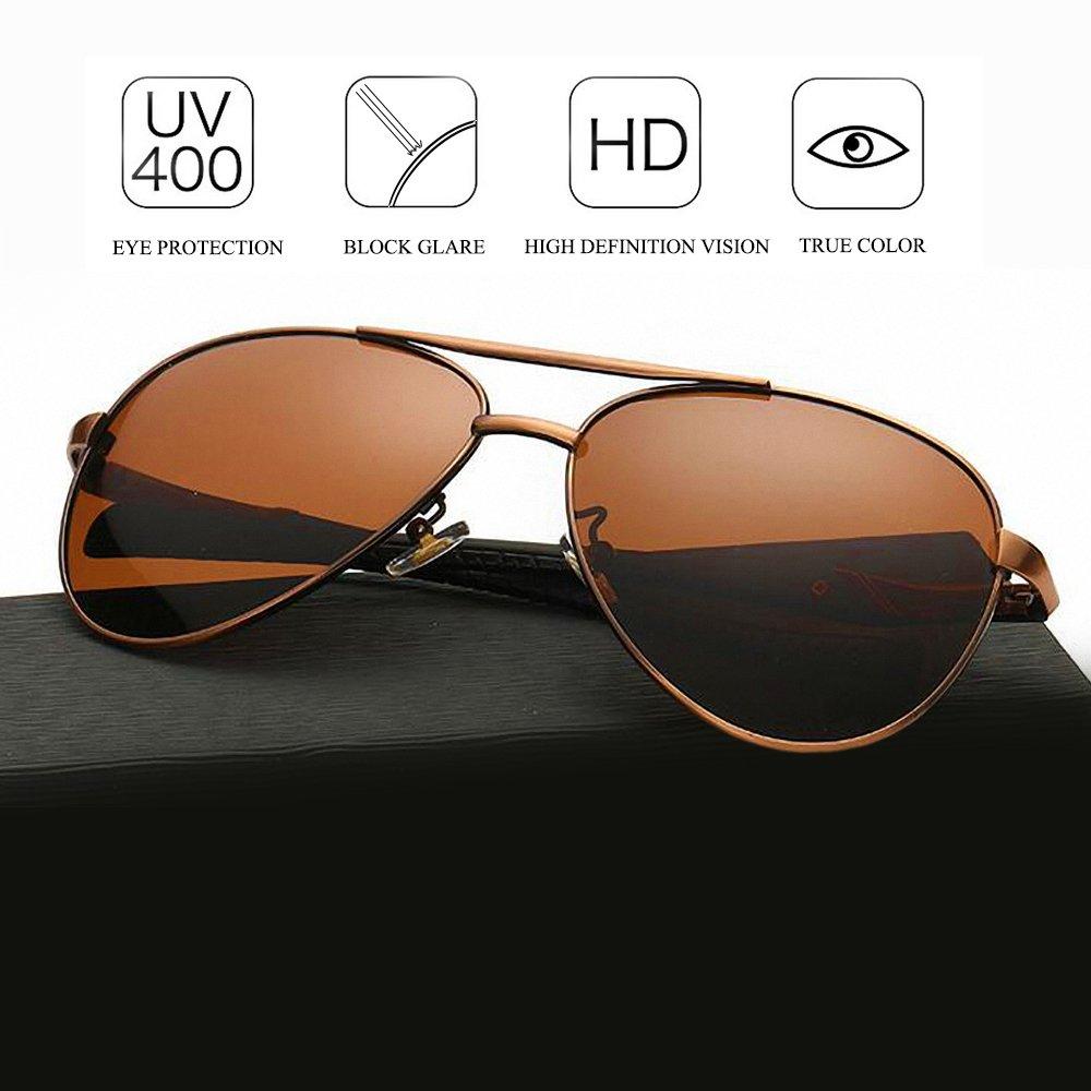 WELUK Military Sunglasses for Men Aviator Polarized Retro Mirrored Large Glasses (Brown & Brown, 61)