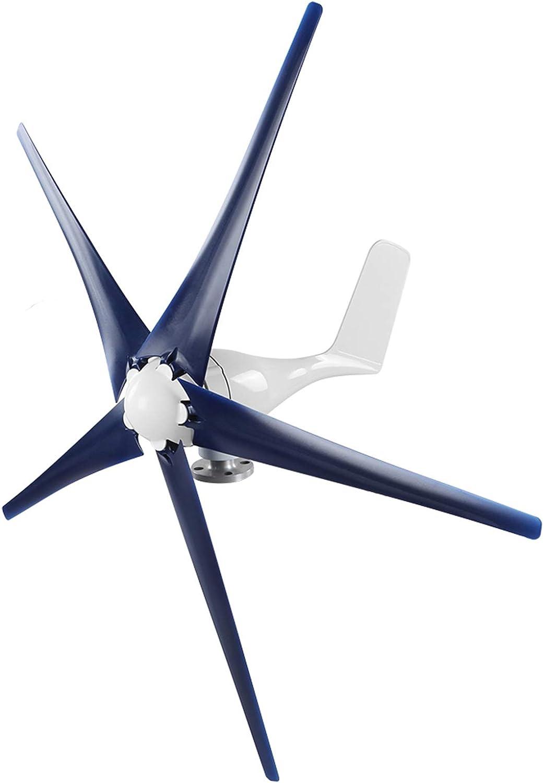Aerogenerador de arranque de velocidad de viento de 12 m/s de aerogenerador aleación + rueda de viento de plástico de 3.9 pies,(blue, 48V)