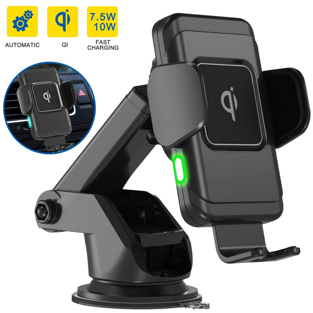 FREESOO QI Wireless Car Charger,10W Car Charger Mount,Windshield Dashboard Air Vent Auto-Clamping Phone Charger Holder Compatible with iPhone Xs MAX/XS/XR/X/8/8+,Samsung S10/S10+/S9/S9+/S8/S8+