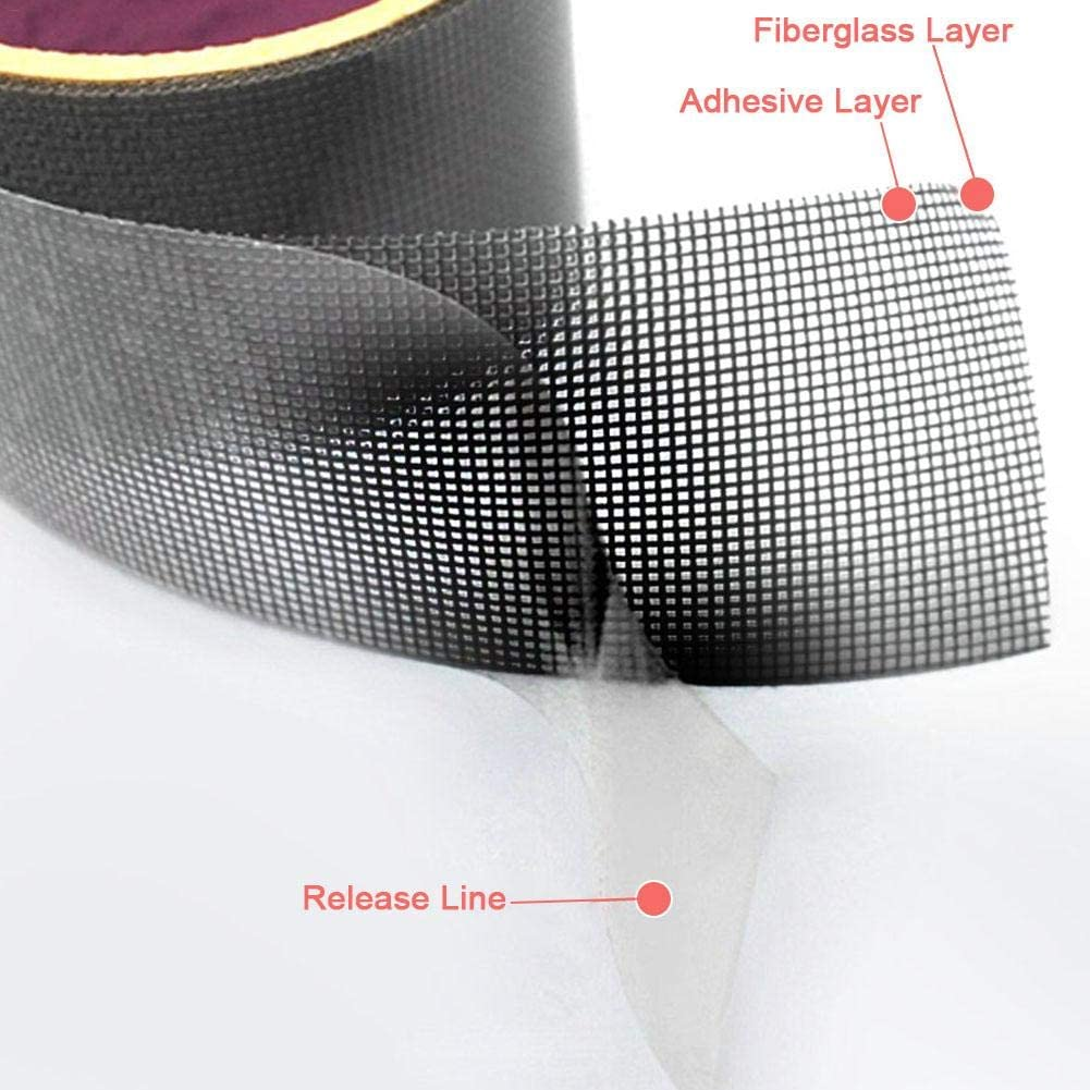 agujeros para parche juego de reparaci/ón de mosquitera evita insectos Cinta de reparaci/ón de pantalla Dough.Q cinta adhesiva de fibra de vidrio Windows y cinta adhesiva impermeable para reparaci/ón