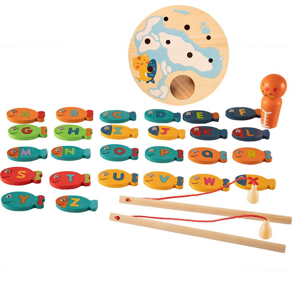 Jiamuxiangsi- Toys - Ensemble de pêche magnétique pour Enfants en Bas Âge - Cadeaux pour garçons et Filles - 1-3-5-7-9 - Jouets en Bois -Jeux intelligents