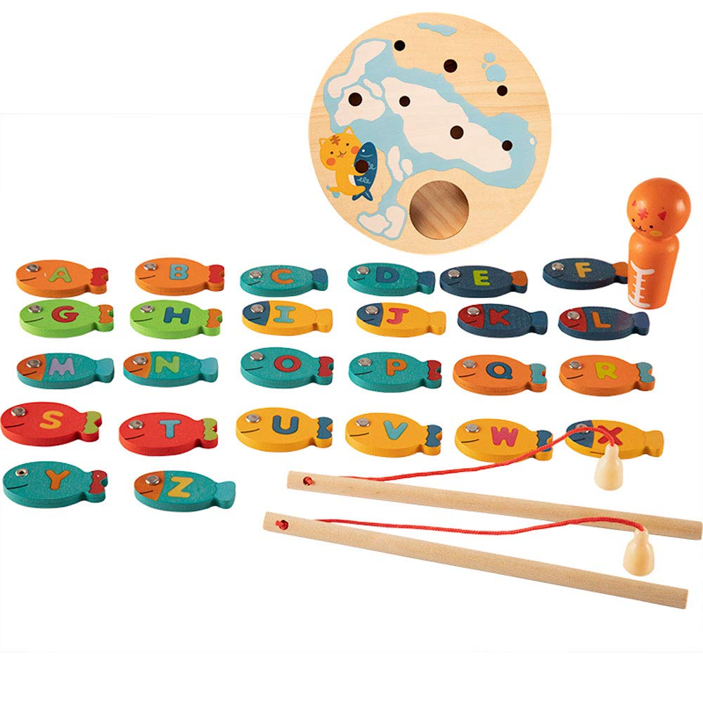 Jian E -// Toys - Infant Children's Magnetic Fishing Toy Set - Boys and Girls Gifts - 1-3-5-7-9 - Wooden Toys /-/