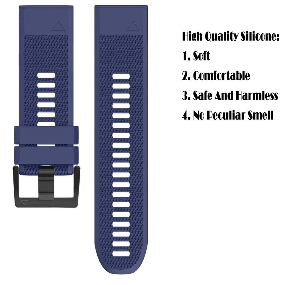 (Black) hellosy Soft Silicone Band Compatible with Garmin Fenix 5X Band//Garmin Fenix 3 Band//Garmin Fenix 5X Plus Band//Garmin Fenix 3 hr Band