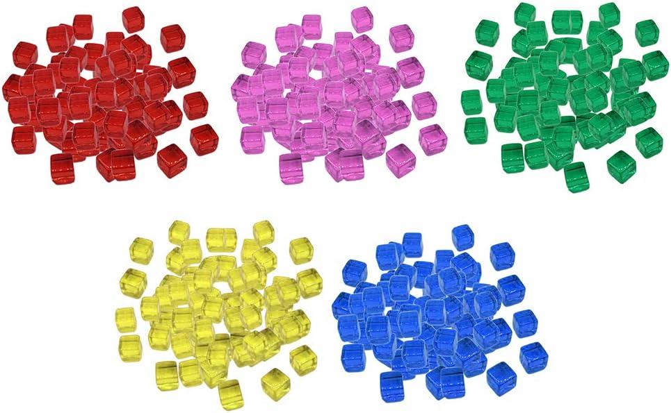 sharprepublic 500 Pedazos Juego de Mesa Dados de Acrílicos Coloridos Bloque de Cubos Juego de Diversión para Niños 10mm