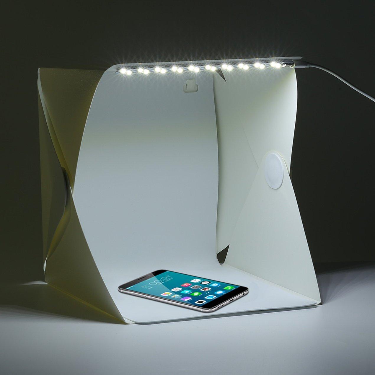 Photo Studio Box for Everybody Foldable Photography Studio Kit with LED Light 22cm*22cm Photo Box Mini Light Tent White,