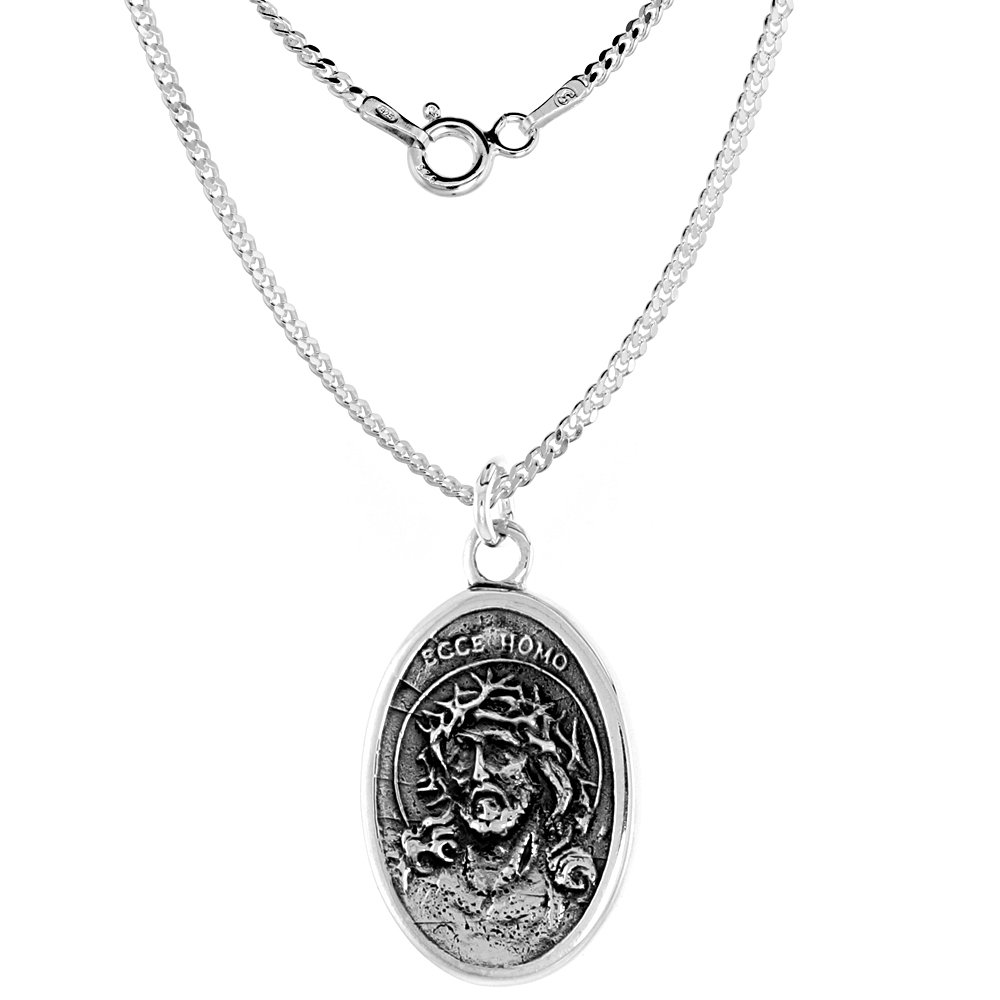 Sterling Silver Jesus with Crown of Thorns Sorrowful Mother Medal Necklace Oval 1.8mm Chain