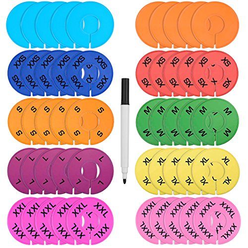blulu-50-pieces-colored-closet-size-dividers-round-clothing-rack-dividers-with-marker-pen-blank-and-