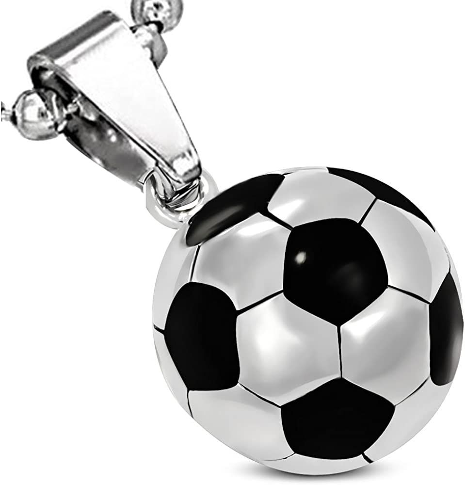 Silvertone 3-D Soccer ball Lord Guide Me Charm Bead