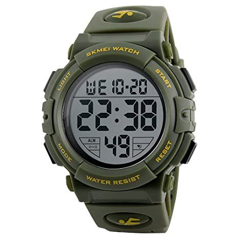 DAXIA Reloj Deportivo LED, 50 Metros Impermeable Deportes Paso Contador Digital electrónica Casual Reloj Deportivo