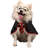 Coomour Dog Shirt Pet Wizard Costume Cat Soft Clothes for Dogs Cats Soft Hoodies with Glasses (Large)